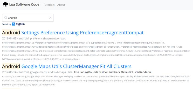 Add Algolia Search To Hugo Static Website | Lua Software Code