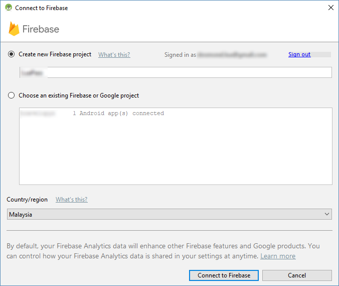 Android Studio Connect your app to Firebase