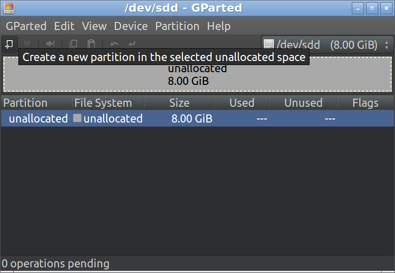 GParted create a new partition