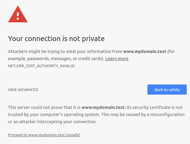 Chrome Cert Authority Invalid